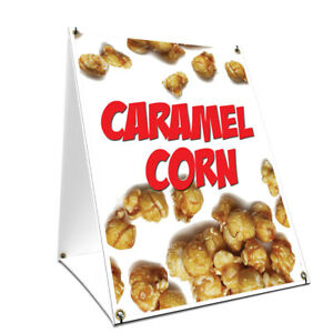 A frame Sidewalk Sign Caramel Corn With Graphics On Each Side