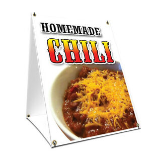 A frame Sidewalk Sign Homemade Chili With Graphics On Each Side