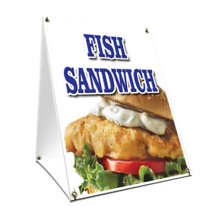 A frame Sidewalk Sign Fish Sandwich With Graphics On Each Side