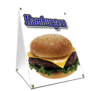 A frame Sidewalk Sign Hamburger With Graphics On Each Side