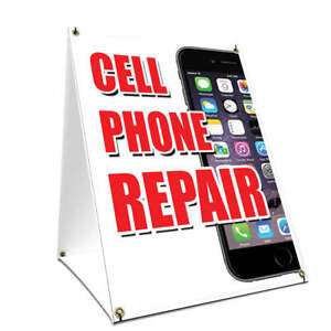 A frame Sidewalk Sign Cell Phone Repair With Graphics On Each Side