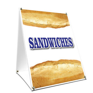 A frame Sidewalk Sign Sandwiches With Graphics On Each Side