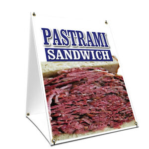 A frame Sidewalk Sign Pastrami Sandwich With Graphics On Each Side
