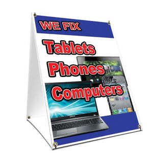 A frame Sidewalk Sign We Fix Tablets Phones Computers Double Sided