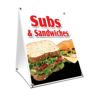 A frame Sidewalk Sign Subs Sandwiches With Graphics On Each Side