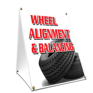 A frame Sidewalk Sign Wheel Alignment Balancing Double Sided