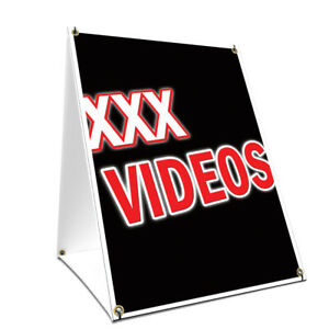 A frame Sidewalk Sign Xxx Videos With Graphics On Each Side