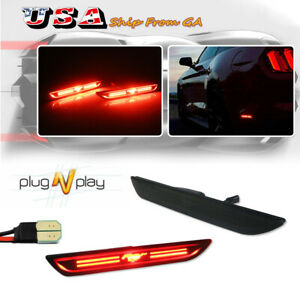 2pc Red Led Rear Bumper Side Marker Lights Kit For 2015 2018 Ford Mustang