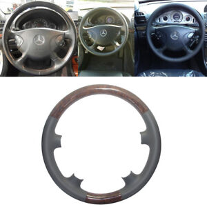 Gray Leather Wood Steering Wheel Cover Decor For 02 06 Mercedes Benz W211 S211 E
