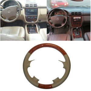 Tan Leather Brown Wood Steering Wheel Cover Benz Trim 98 05 W163 M Ml320 350 430