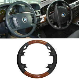 Black Leather Cherry Wood Steering Wheel Cover Decor 02 08 Bmw E65 E66 7 730 740
