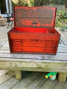 Vintage Snap On Tools 6 Drawer Flip Open 26 Tool Box Chest Red Steel With Key