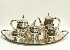 International Silver Royal Danish Sterling C 353 Tea Coffee Service W S P Tray