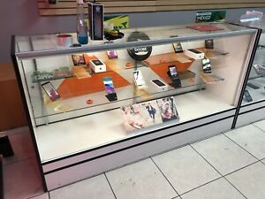 Retail Glass Display Case Full Vision White 6 Showcase With Lighting
