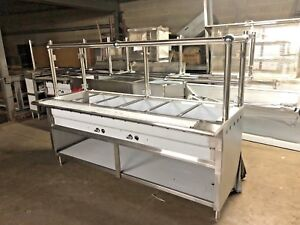 84 7ft Stainless Steel Steam Table Nat Gas 6 Pans 40k Btu W Sneeze Guard Nsf