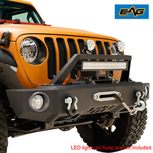 Eag Front Bumper Rock Crawler With Winch Plate Fit For 18 19 Jeep Jl Wrangler