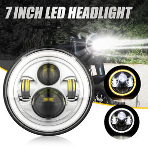 Chrome 7 Inch Round Led Headlight Hi lo Fit For Harley Davidson Motorcycle