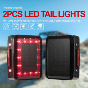2x Led Tail Lights Turn Signal Brake Light Left Right For Jeep Wrangler Jk 07 18