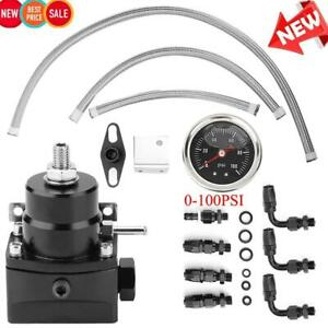 Universal 0 100psi Adjustable Oil Gauge Fuel Pressure Regulator Kit An 6 Connect