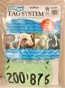 Allflex Global Maxi Numbered Ear Tags Green Numbered 176 200 Calves Cows