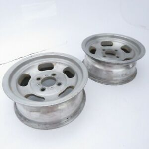 Vintage Us Indy Aluminum Slotted Mag Wheel Pair 13x5 5 Rims 4x4 25 Bolt Pattern
