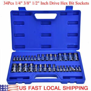 1 4 3 8 1 2 Drive 34pcs Allen Wrench Hex Key Bit Socket Kit Repair Tools Set