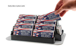 Business Card Holder Rotating 18 Pocket Black Countertop Display Qty 24