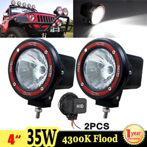 2x 35w 4 Inch Xenon Hid Work Lights Flood 4300k Offroad Tractor 4wd Boat Fog H3