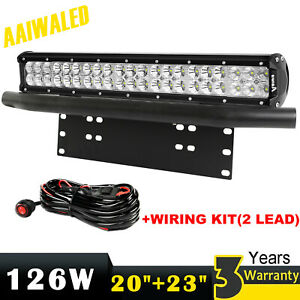 20inch Led Light Bar Combo number Plate Frame Mount Bracket License wiring Kit