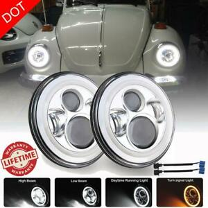 Pair 7 Inch Round Led Headlights Halo Hi lo Drl Chrome Fit For Volkswagen Beetle