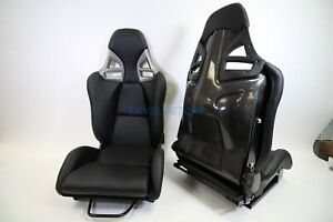 Porsche 997 Style Gt3 Reclining Seats Black Pu Leather W Carbon Fiber Shell