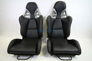 Porsche 997 Style Gt3 Reclining Seats Black Pu Leather W Frp Shell Gt2 Rsr