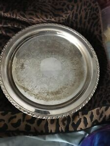 Wma Rogers Silver Plate Tray Vintage Platter Engraved