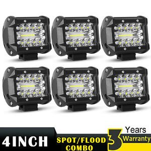 6x 4 Inch Cree Led Work Light Bar Spot Flood Combo Tri row Driving Lamp Offroad