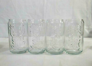Set of 4 Coca Cola Glasses Soda Can Shape and Size Glass Tumbler