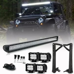 For Jeep Wrangler Jk Mount Bracket 52inch 1080w Led Light Bar 4pc Work Cube Pods