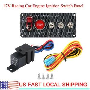 For 12v Racing Cars Rv Engine Ignition Switch Panel Start Push Button Toggle
