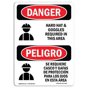 Osha Danger Hard Hat Goggles Required In Area Bilingual Sign Or Label