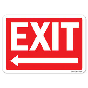 Ansi Caution Sign Exit With Left Arrow made In The Usa