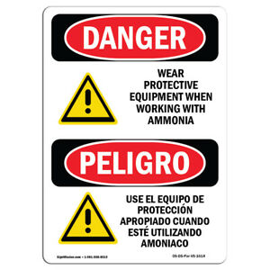 Osha Danger Wear Protective Equipment Ammonia Bilingual Sign Or Label