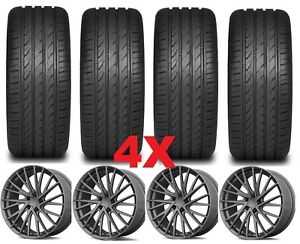 18 Mag Alloy Wheels Rims Tires 235 45 18 Gray Package 18x8 Optima Kmc
