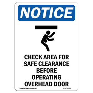 Osha Notice Check Area For Safe Sign With Symbol Heavy Duty Sign Or Label