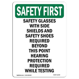 Osha Safety First Sign Safety Glasses With Side Shields made In The Usa
