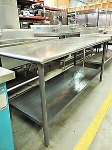 30 X 72 Stainless Steel Table With Painted Galvanized Lower Shelf Used