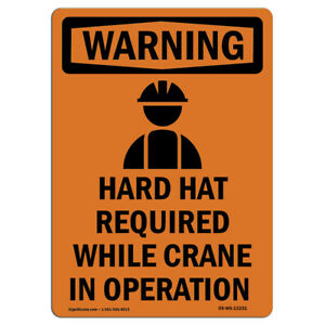 Osha Warning Sign Hard Hat Required With Symbol made In The Usa