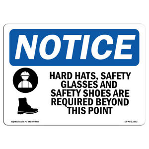 Osha Notice Hard Hat Safety Glasses And Sign With Symbol Heavy Duty