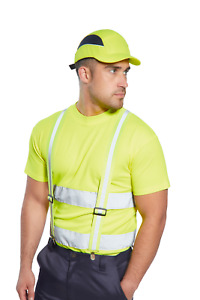 10 Pack Of Portwest Airtech Bump Caps Hi Vis Yellow Adjustable Ps59