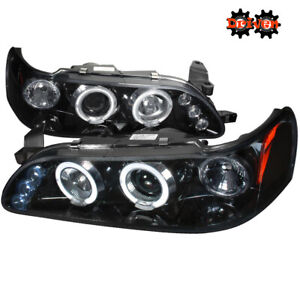For 93 97 Toyota Corolla Headlights Corner Smoked Projector Led Halo Trd Ce Base