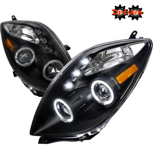 For 06 08 Toyota Yaris Headlights Matted Black Projector Led Halo Trd Base