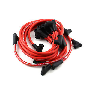 Universal 90 Deg To 90 Deg Over Covers Female Red Spark Plug Wires Suits Chevy